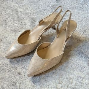 🔷️ IMPO Nude Pointed Slingback Heels Size 7.5